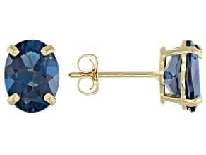 London Blue Topaz 10k Yellow Gold Stud Earrings 3.00ctw