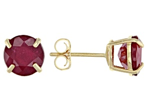Mahaleo® Ruby 10k Yellow Gold Stud Earrings 2.48ctw