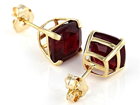 Red Mahaleo® Ruby 10k Yellow Gold Stud Earrings 2.84ctw