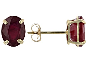 Red Mahaleo® Ruby 10k Yellow Gold Stud Earrings 3.60ctw