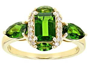 Green Chrome Diopside 10k Yellow Gold ring 1.80ctw