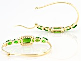 Green Chrome Diopside 10k Yellow Gold Hoop Earrings 2.93ctw