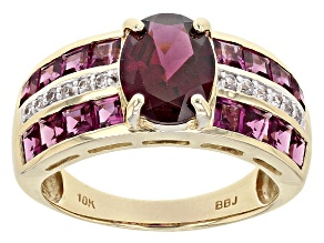 Grape Color Garnet 10k Yellow Gold Ring 3.88ctw