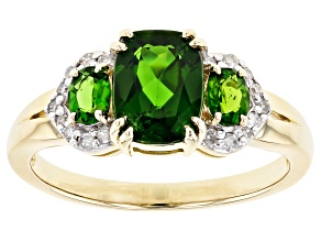 Green Russian Chrome Diopside 10k Yellow Gold Ring 1.70ctw