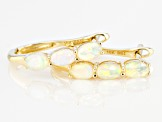 Multi Color Ethiopian Opal 10k Yellow Gold J-Hoop Earrings .68ctw