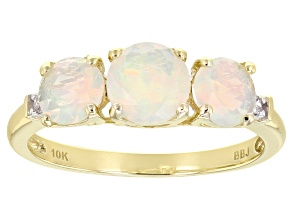 Multi Color Ethiopian Opal 10k Yellow Gold Ring .80ctw