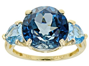 London Blue Topaz 10k Yellow Gold Ring 10.80ctw
