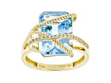 Sky Blue Topaz 10k Yellow Gold Ring 9.56ctw