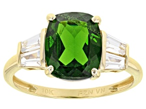 Green Chrome Diopside 10k Yellow Gold Ring 3.61ctw
