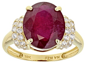 Red Mahaleo® Ruby 10k Yellow Gold Ring 6.99ctw