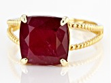 Red Mahaleo® Ruby 10k Yellow Gold Ring 6.15ct