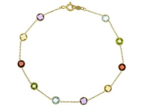 Mixed Gemstone 14k Yellow Gold Bracelet 2.80ctw