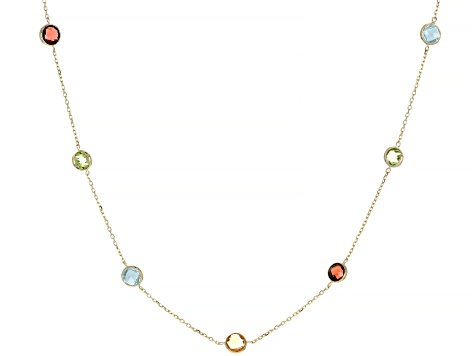Mixed-Gem 14k Yellow Gold Necklace 2.56ctw