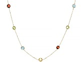 Mixed-Gem 14k Yellow Gold Station Necklace 2.56ctw