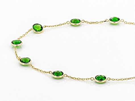 Green Chrome Diopside, 14k Yellow Gold 9-Stone Bracelet 2.70ctw