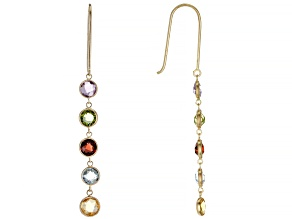 Mixed Color Multi-Gem 14k Yellow Gold Dangle Earrings 2.80ctw