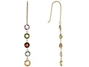 Mixed Color Multi-Gem 14k Yellow Gold Dangle Earrings 2.80ctw