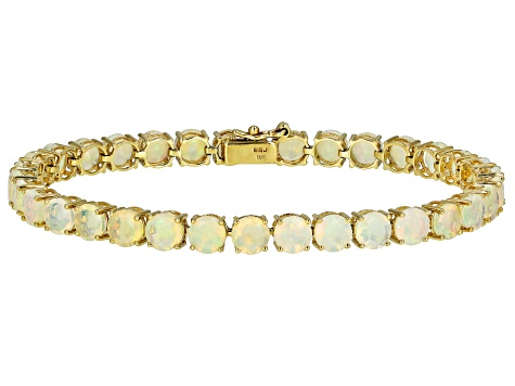 Multi color Ethiopian Opal 10k Yellow Gold Tennis Bracelet 7.29ctw