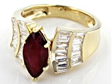 Red Mahaleo® Ruby 10k Yellow Gold Ring 4.02ctw