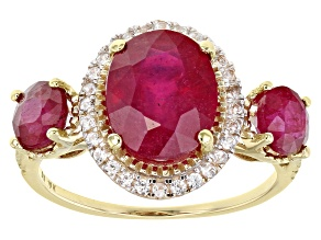 Red Mahaleo® Ruby 10k Yellow Gold Ring 4.40ctw