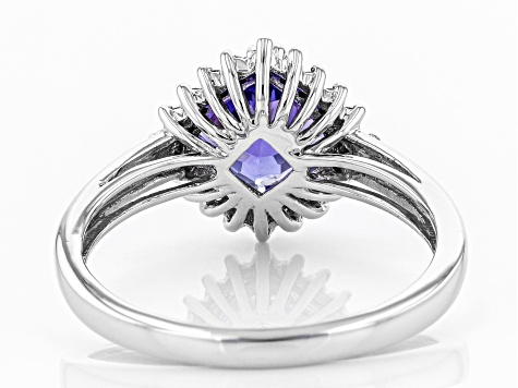 Blue Tanzanite Rhodium Over 10k White Gold Ring 1.55ctw