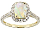 Multi Color Ethiopian Opal 10k Yellow Gold Ring 1.46ctw