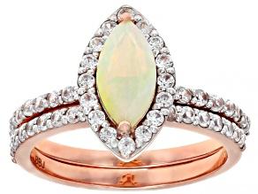 Multi Color Ethiopian Opal Rose Gold 2 Ring Set