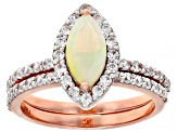 Multi Color Ethiopian Opal Rose Gold 2 Ring Set