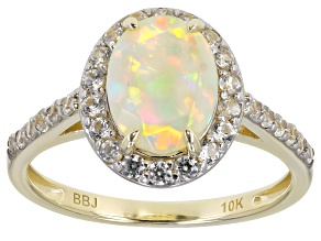 Multi Color Ethiopian Opal 10k Yellow Gold Ring 1.28ctw