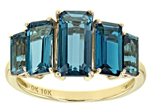 London Blue Topaz10k Yellow Gold Ring 4.44ctw