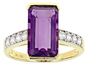 Purple Uruguayan Amethyst 10k Yellow Gold ring 4.64ctw
