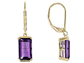 Purple Uruguayan Amethyst 10k Yellow Gold Earrings 3.49ctw