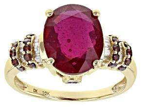 Red Mahaleo® Ruby 10k Yellow Gold Ring 4.63ctw