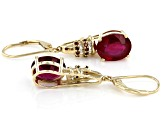 Red Mahaleo® Ruby 10k Yellow Gold Earrings 7.20ctw