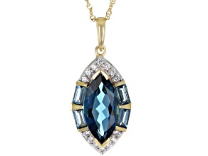 Blue Topaz 10K Yellow Gold Pendant With Chain 3.36ctw