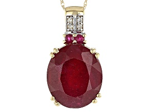 Red Mahaleo® Ruby 14k Yellow Gold Pendant 9.13ctw