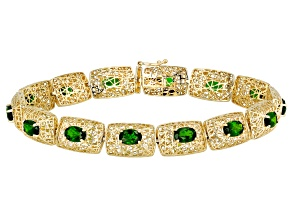 Green Russian Chrome Diopside 10k Yellow Gold Bracelet 5.72ctw