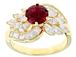 Red And White Cubic Zirconia 18K Yellow Gold Over Sterling Silver Ring 2.38ctw