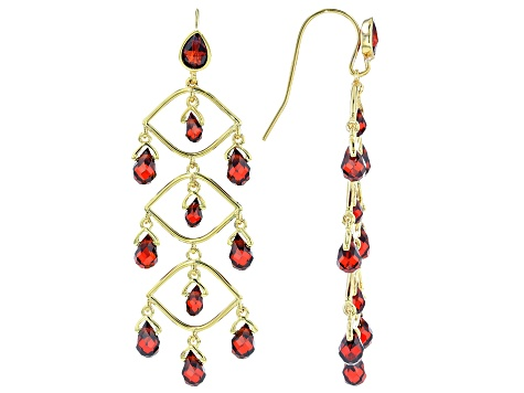 Red Cubic Zirconia 18K Yellow Gold Over Sterling Silver Dangle Earrings 19.27ctw