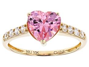 Pink & White Cubic Zirconia 10k Yellow Gold Ring 3.78ctw