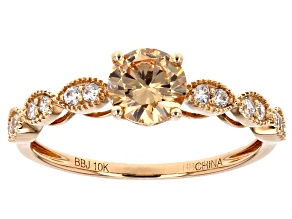 Brown And White Cubic Zirconia 10k Rose Gold Ring 1.76ctw