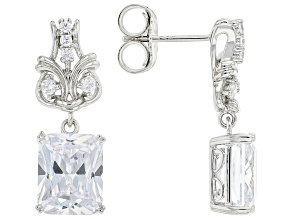 White Cubic Zirconia Rhodium Over Silver Earrings (8.03ctw DEW)