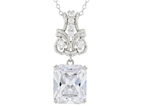 White Cubic Zirconia Rhodium Over Silver Pendant With Chain (7.43ctw DEW)