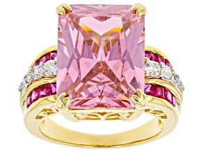 Pink & White Cubic Zirconia and Lab Ruby Rhodium And 18k Yellow Gold Over Silver Ring