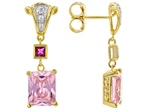 Pink & White Cubic Zirconia With Lab Ruby Rhodium & 18k Yellow Gold Over Silver Earrings