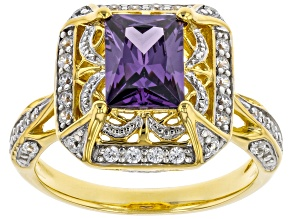 Purple and White Cubic Zirconia Rhodium And 18k  Yellow Gold Over Sterling Silver Ring