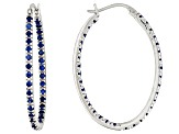 1.90ctw Blue Cubic Zirconia Rhodium Over Sterling Silver Hoop Earrings