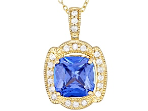 Blue And White Cubic Zirconia 18k Yellow Gold Over Sterling Silver Pendant With Chain