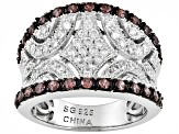 Mocha And White Cubic Zirconia Sterling Silver Ring 3.38ctw