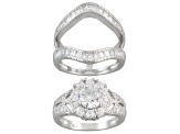 White Cubic Zirconia Rhodium Over Sterling Silver Ring With Guard 3.65ctw